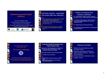 1 Synthesising public health evidence Cochrane reviews ...