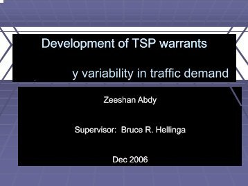 Development of TSP warrants considering vehicular emissions and ...