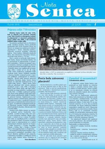 číslo júl 2005 Prečo bola zatvorená plaváreň? - Mesto Senica