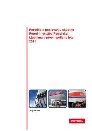 Poročilo o poslovanju v prvih šestih mesecih leta 2011 - Petrol