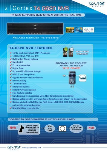 T4 G620 NVR feaTuRes - Qvis Security