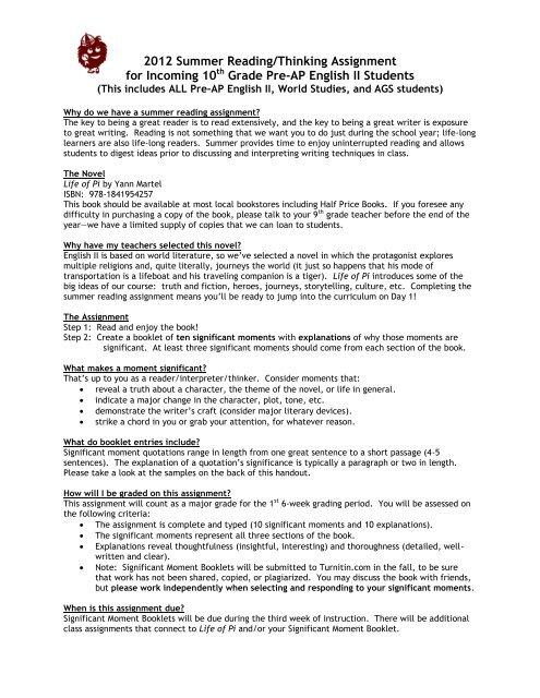 10th Grade Pre-AP English II Reading Assignment - Austin