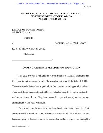 Order Granting Preliminary Injunction