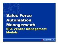 Sales Force Automation Management: - Best Practices, LLC