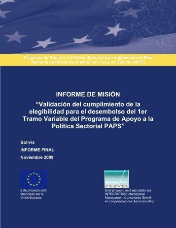 Informe 1er. Tramo Variable - Viceministerio de Coca y Desarrollo ...