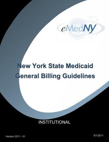 General Billing Guidelines Institutional - eMedNY