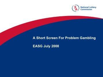 A SHORT SCREEN FOR PROBLEM GAMBLING