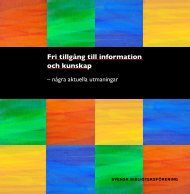 Fri tillgång till information och kunskap - Svensk Biblioteksförening