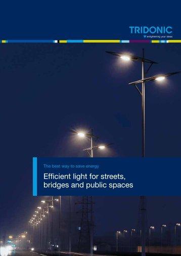 Efficient light for streets, bridges and public spaces