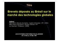 Brevets déposés au Brésil sur le marché des ... - CRRM à