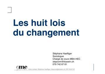 Les huit lois du changement - Stéphane Haefliger Sociologue
