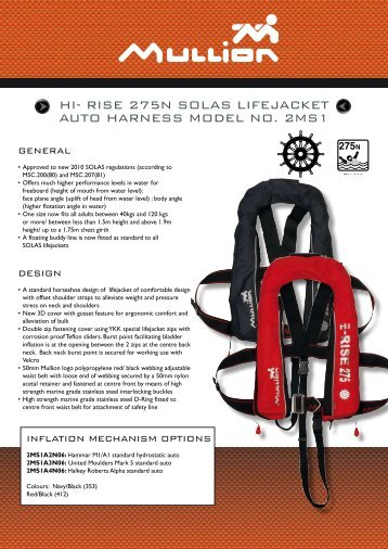 HI- RISE 275N SOLAS LIfEjAckEt AutO HARNESS MODEL NO. 2MS1