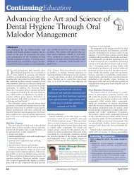 Advancing the Art and Science of Dental Hygiene Through Oral ...