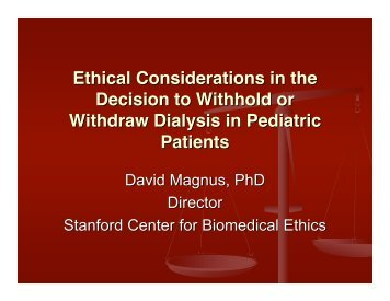 Ethical Considerations in the Decision to Withhold or Withdraw ...