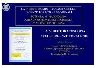 La videotoracoscopia nelle urgenze toraciche - Ospedale San Carlo