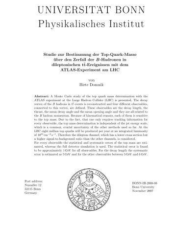 UNIVERSIT . . AT BONN Physikalisches Institut - Prof. Dr. Norbert ...