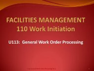 U113 General Work Order Processing - Facilities Management
