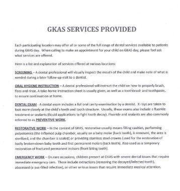 GKAS SERVICES PROVIDED - Colts Neck Township Schools