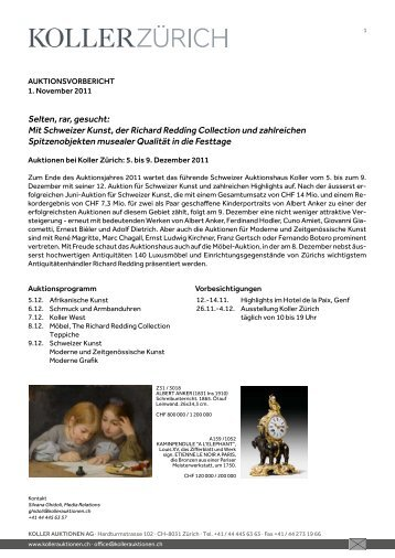 Mit Schweizer Kunst, der richard redding ... - Koller Auktionen