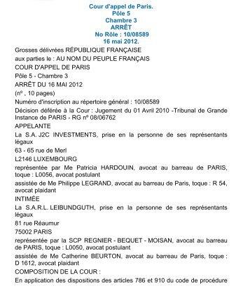 Consulter LArrt De La Cour DAppel De Paris Ple  Chambre