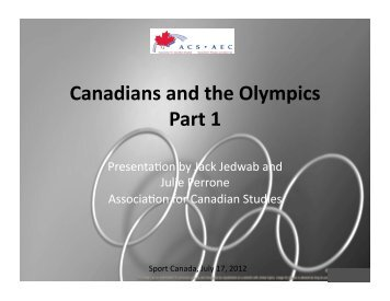 Canadians and the Olympics Part 1 - Association for Canadian Studies