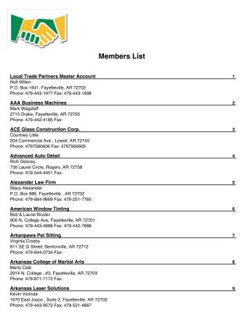 Members List - Local Trade Partners