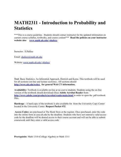 MATH2311 - Introduction to Probability and Statistics