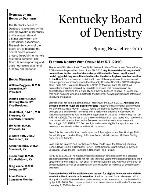 Required Address Changes Kentucky Board Of Dentistry
