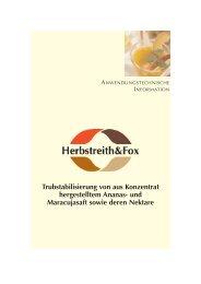 Trubstabilisierung von aus Konzentrat ... - Herbstreith & Fox