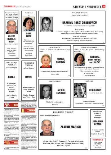 pregled smrtovnica za 24.05.2013