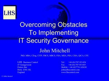 Overcoming Obstacles to IT Governance