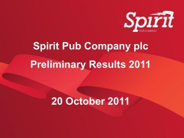 Spirit Pub Company plc Preliminary Results 2011 20 October 2011