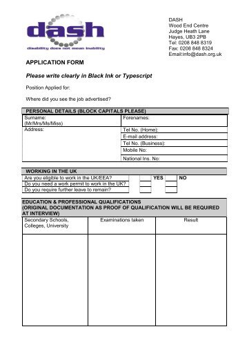 APPLICATION FORM Please write clearly in Black Ink or Typescript