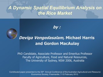 a dynamic spatial price equilibrium analysis in rice market