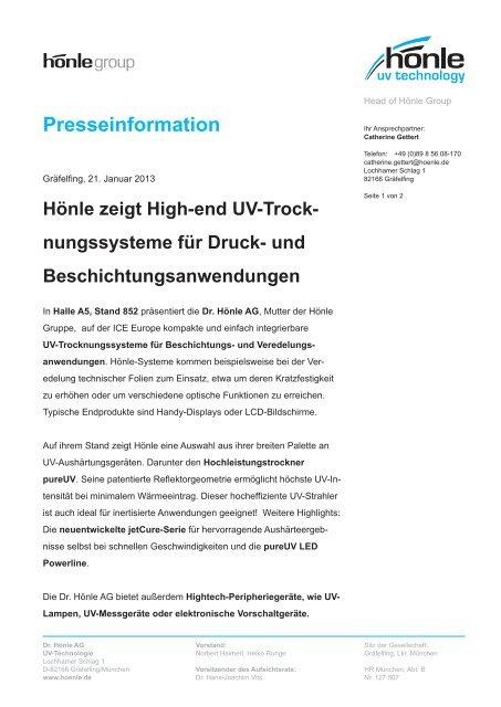 Presseinformation zur ICE Europe 2013 - Dr. Hönle AG