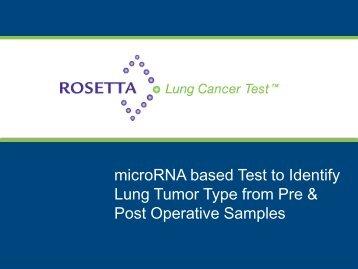 Download Presentation - Rosetta Genomics