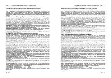 VII – C Reglement für die Gruppe SuperSerie Règlement pour le ...