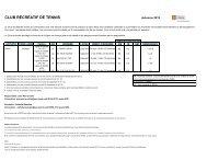 Horaire et coût du club de tennis (.PDF) - Peps - Université Laval