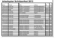 Arbeitsplan Schützenfest 2013 - Western-Kompanie
