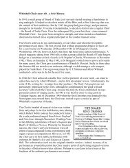 Read a history - Whitehall Choir