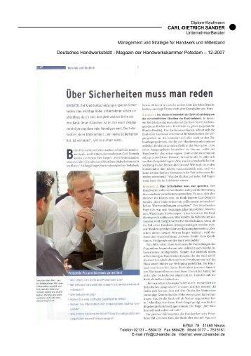 Magazin der Handwerkskammer Potsdam – 12-2007
