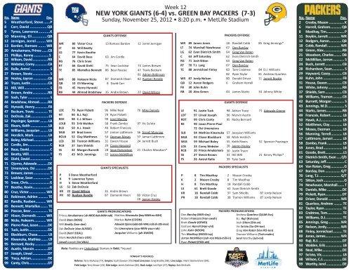 NEW YORK GIANTS (6-4) vs  GREEN BAY PACKERS (7-3) - NFL com