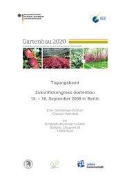 Zukunftskongress Gartenbau 2009: Tagungsband - BMELV