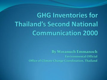 GHG Inventories for Thailand's Second national Communication 2000