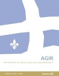 AGIR — 400 millions de dollars pour les consommateurs - Budget