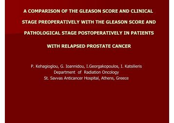 a comparison of the gleason score and clinical stage preoperatively ...