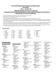 List of Participating General Dentists and Orthodontists Area 1 ...