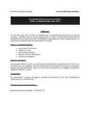Direction de l'action culturelle Les Lilas Musiques actuelles ...