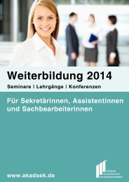 Das neue Seminarprogramm 2014 ist da! - Akademie für Sekretariat ...
