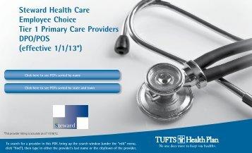 Steward Health Care Employee Choice Tier 1 ... - Tufts Health Plan